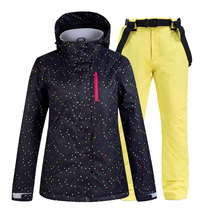 Women #8217 s Ski Suit Thermal Skiing Jacket Pants Set Winter Women Waterproof Windproof Skiing And Snowboarding Set Female Snow Wear cheap ARCTIC QUEEN COTTON Polyester Hooded Fits true to size take your normal size Jackets Breathable Skiing Suit Windproof And Waterproof