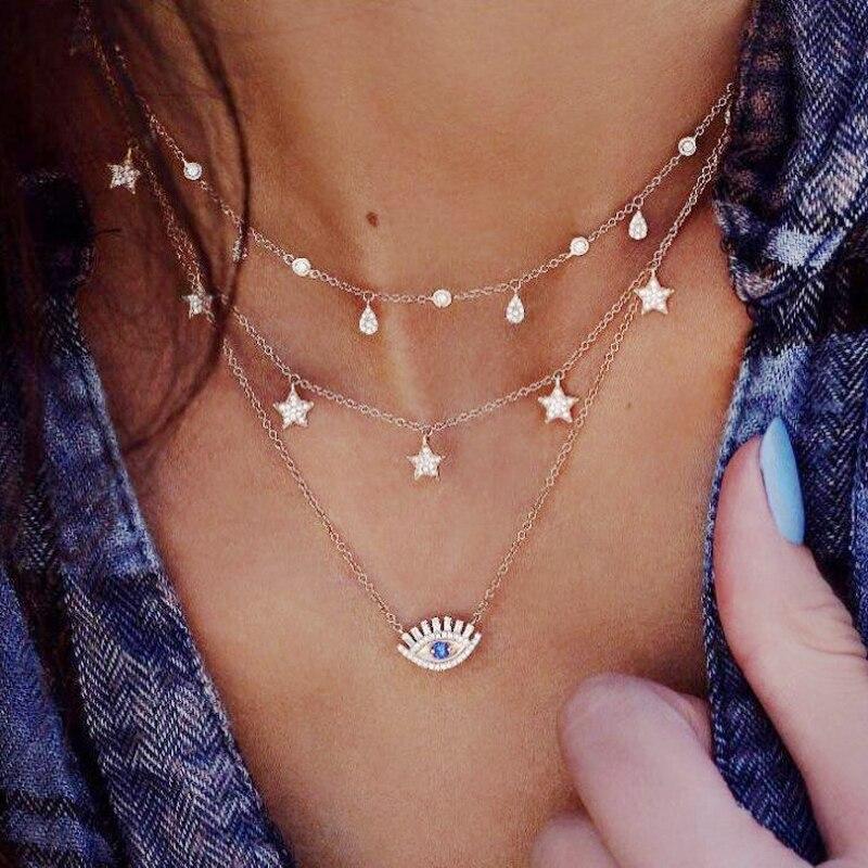 17KM богемное золотое ожерелье s для женщин монета Сердце цветок звезды колье кулон ожерелье этнический многослойный женский ювелирный подарок - Окраска металла: CSF644