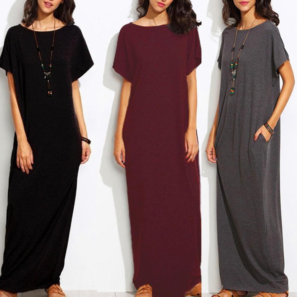 Vintage Kleider Frauen Einfarbig Kurzarm O Neck Kleid Baumwolle Lose Lange  Kleid Plus Größe Sommer Frauen kleid Maxi kleid