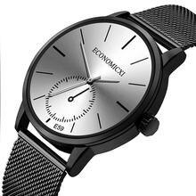 Мужские универсальные модные бизнес Кварцевые часы из нержавеющей
