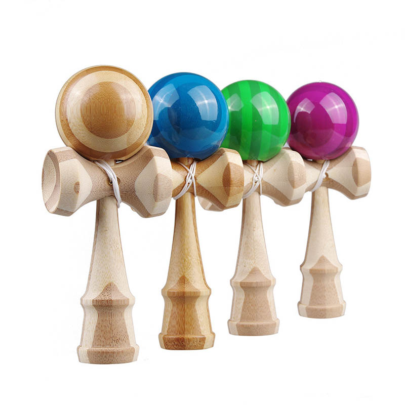18cm Professional Kendama Bamboo Wooden Toys PU Paint Skillful Juggling Ball Antistress Outdoor Sports For Children Education