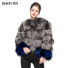Real Silver Fox Fur Coat Mixed Color Fashion Luxury Style Natural Genuine Fox Fur Thick Warm Jacket Fur S7517