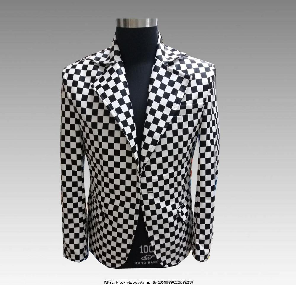 Party Dress Men's Black And White Square Pattern Suits Male Dance Performance Casual Blazer Jacket Male Fashion Banquet Coat