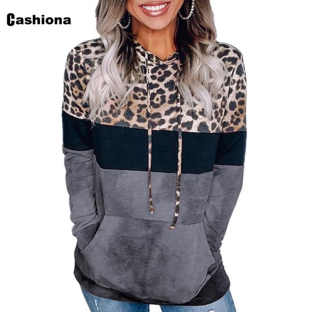 Cashiona 2020 Women Hoodie Sweatshirts Autumn Long Sleeve Patchwork Color Leopard Printed Tops Plus size Femme Casual Sweatshirt 1