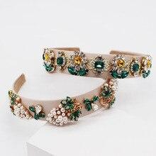 Turquoise Gemstone Headband Baroque Bridal Crystal Hairband Wedding Pearl Hair Accessories Jewelled Head Band Rhinestone 2019