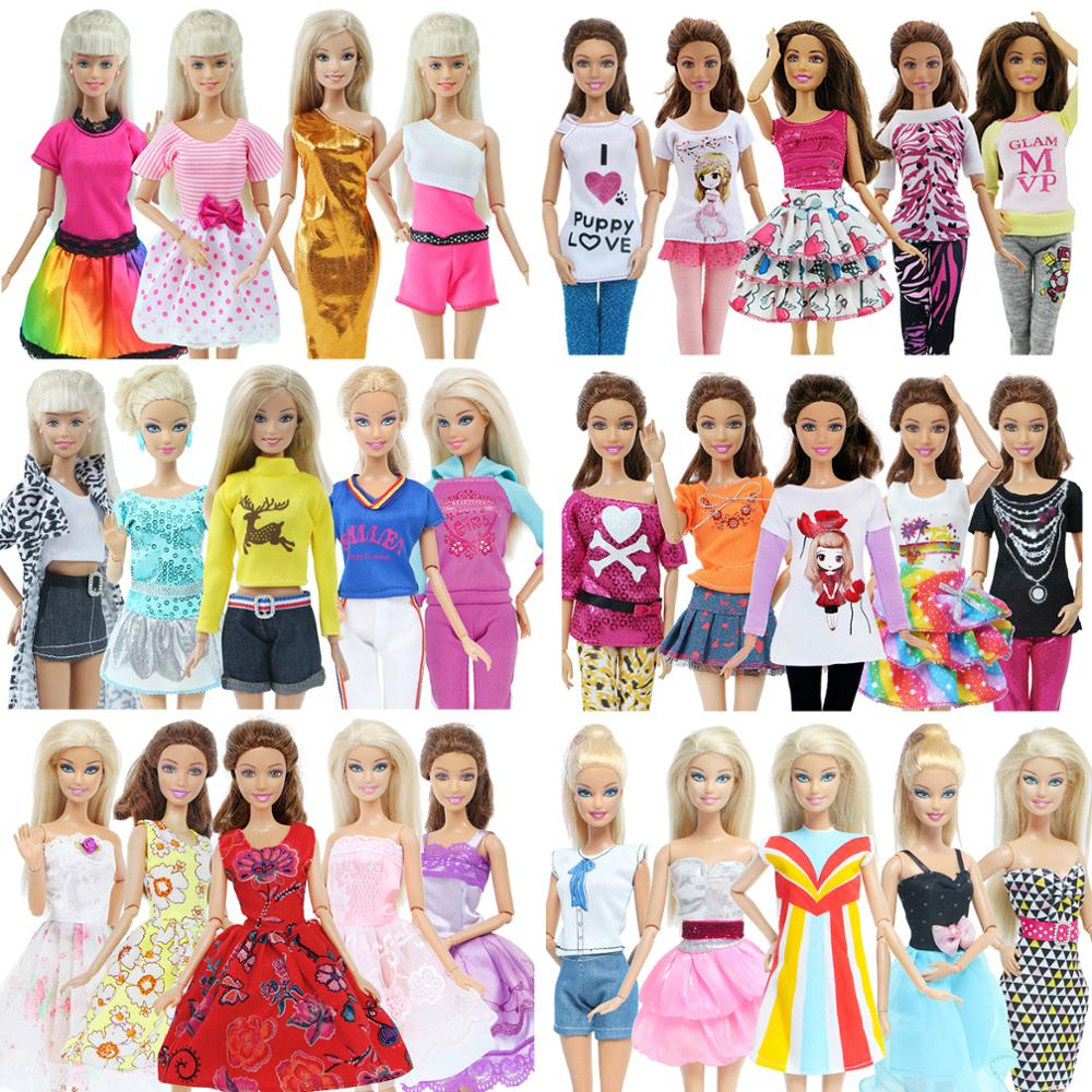 5 Pcs Fashion Daily Wear Casual Outfits Vest Shirt Skirt Pants Dress Dollhouse Accessories Clothes for Barbie Doll(China)