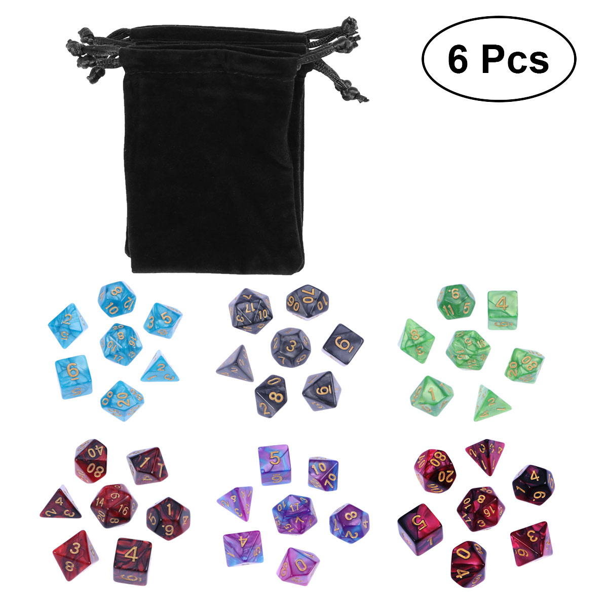 6 X 7 Sets Polyhedral Dice Acrylic Digital Number Game Dice Set For Dungeons And Dragons Party Math Role Table Game Playing