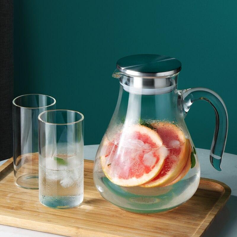 الباردة براد مياه الزجاج جرة المياه غلاية زجاج بوروسيليليك مرتفع عالية درجة الحرارة المقاومة Heatable 2000 مللي