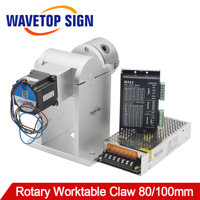 WaveTopSign Laser Marking Machine Rotary Table 180 Degrees With 80 Three-jaw Chuck 2phase 57 Stepper Motor 2Phase Driver