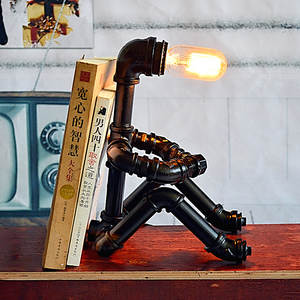 Lamp Minimalist Metal DIY Nordic Retro Robot Wrought-Iron-Pipe Pipe-Industry
