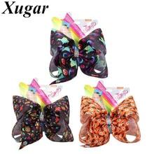 7 Halloween Party Jojo Bows for Girls Print Ribbon Handmade Big Bowknot Hair Clips Festival Children Accessories