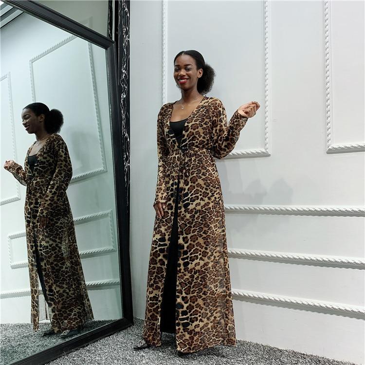 Muslim Abaya Kimono Leapord Print Hijab Dress Arabic Dubai African Women Pakistan Caftan Marocain Kaftan Qatar Islamic Clothing