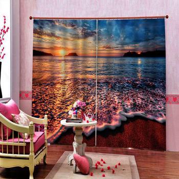 3D Curtain Luxury Blackout Window Curtain Living Room beach sunset curtains Blackout curtain Drapes Cortinas