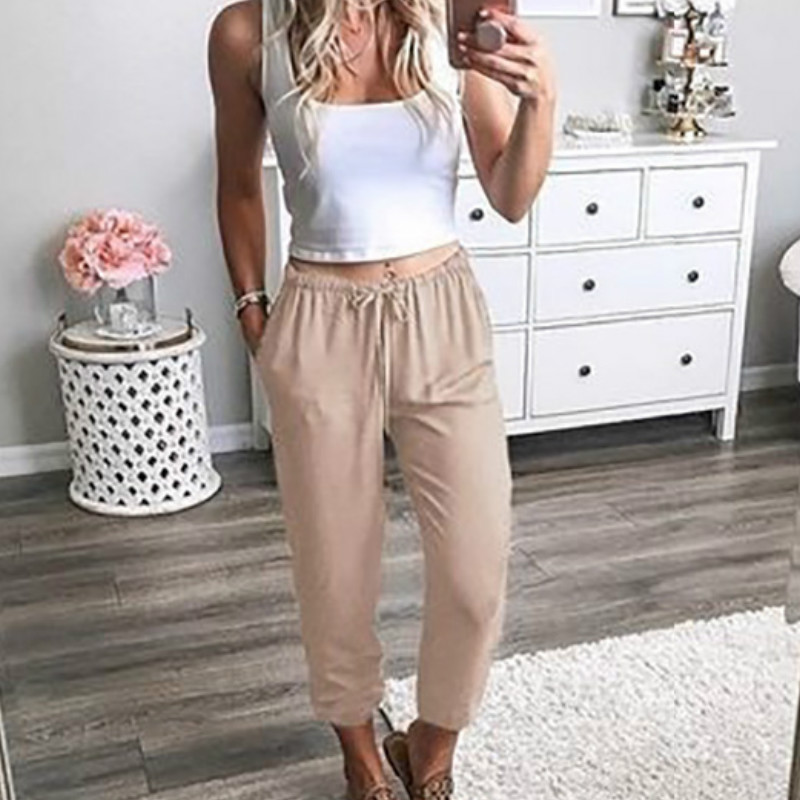3XL Summer Beach Women Long Pants Pockets Ladies Basic Pencil Pants Streetwear Drawstring Spring Workout Legging Plus Size G1552
