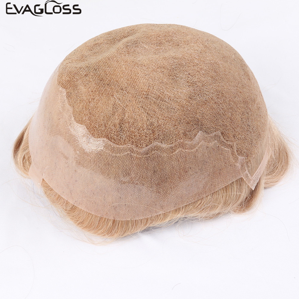 EVAGLOSS Men's Wig Q6 Style Bleached Knots Swiss Lace Thin PU For Mens Toupee Pure Handmade Hair System Prosthesis For Mens