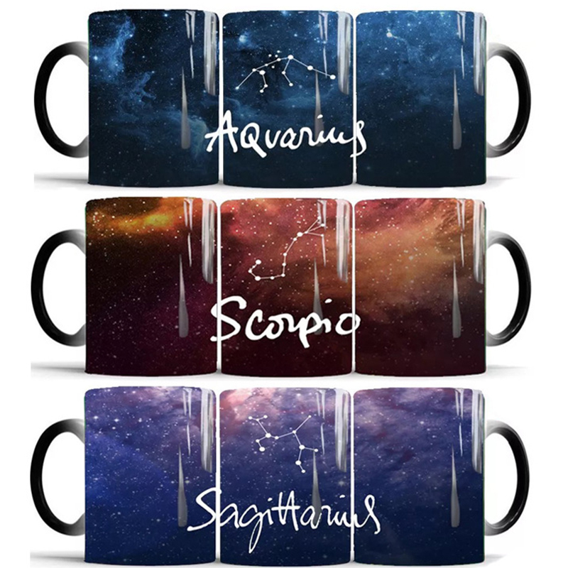 1pcs New 350ml Twelve Constellation Change Color Cup Heat Sensitive Coffee Mug  Starry sky Magic Ceramic Creative Gifts