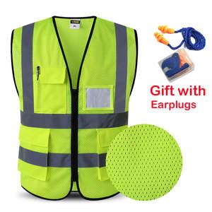 Safety-Vest Waistcoat Workwear Multi-Pockets Women Man Reflective