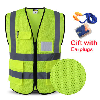 2020 Reflective Safety Vest Work vest Multi Pockets Workwear Waistcoat Man Women - discount item  28% OFF Workplace Safety Supplies