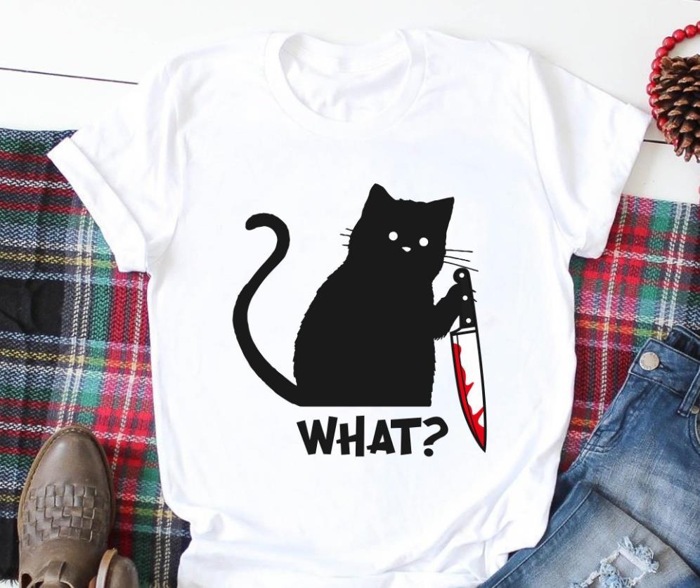 Chat noir ce que Halloween imprimer femmes t-shirt coton drôle t-shirt cadeau pour dame Yong fille rue haut t-shirt A-1062