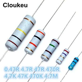 цена на 1/8W 1/4W 1/2W 1W 2W 3W 5W 1% 5% Color ring resistance 0.47R 4.7R 47R 470R 4.7K 47K 470K 4.7M Ohm