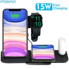 FDGAO 15W bezprzewodowa ładowarka qi stojak na iphonea 11 X XS MAX XR 8 szybkie ładowanie stacji dokującej do zegarka Apple Watch 5 4 3 2 1 Airpods Pro