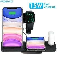 Fdgao 15 w qi carregador sem fio suporte para iphone 11 x xs max xr 8 estação doca de carregamento rápido para apple watch 5 4 3 2 1 airpods pro
