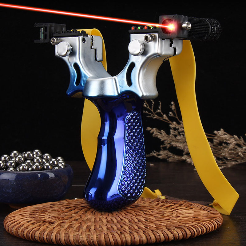 2019 new style Big power high precision new outdoor hunting slingshot Laser aiming slingshot using flat rubber band|Bow & Arrow| |  - title=