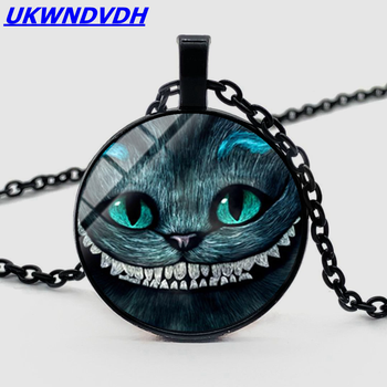 Sleepwalking Wonderland, Big Eye Cat Necklace, Bump Glass Pendant, Bohemian Men and Women Necklace image