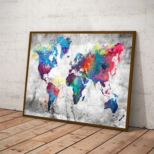 Colorful World Map Canvas Painting Print Wall Art Canvas Pictures Cuadros for Living Room Home Decor