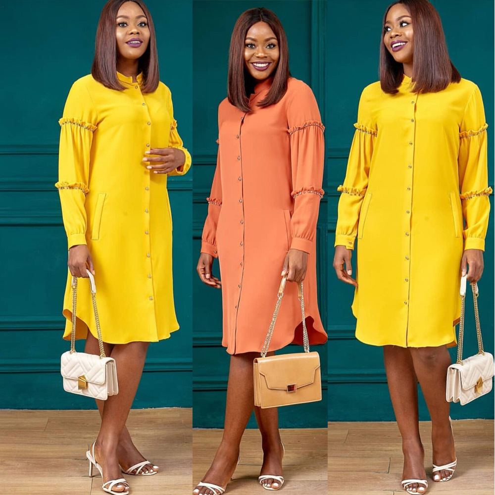 2019 New Arrival Autumn Elgent Fashion Style O-neck Long Sleeves Plus Size Knee-length Dress