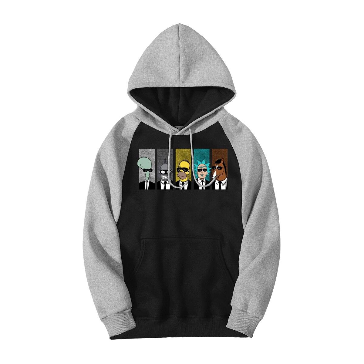 Rick Morty Raglan Men Hoodies BoJack Horseman Funny Fashion Autumn Winter Warm Hooded Tracksuit 2019 New Arrival Prine Jacket