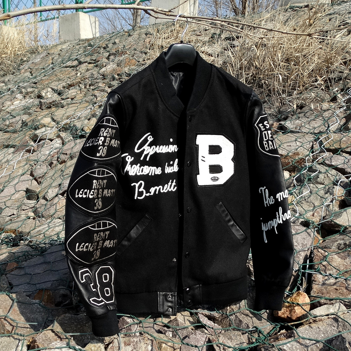 Spring Thin Wool Sheep Skin Sleeves Multi-Standard Embroidered Genuine Leather Clothes Baseball Uniform Leather Jacket