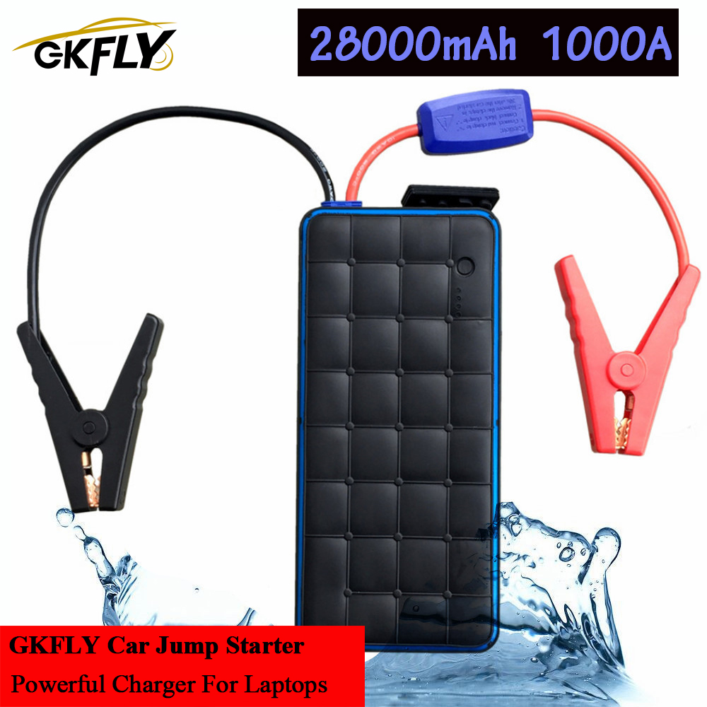 GKFLY Waterproof 28000mAh 1000A Starting Device High Power Car Jump Starter Petrol Diesel Power Bank Car Charger For Car Battery