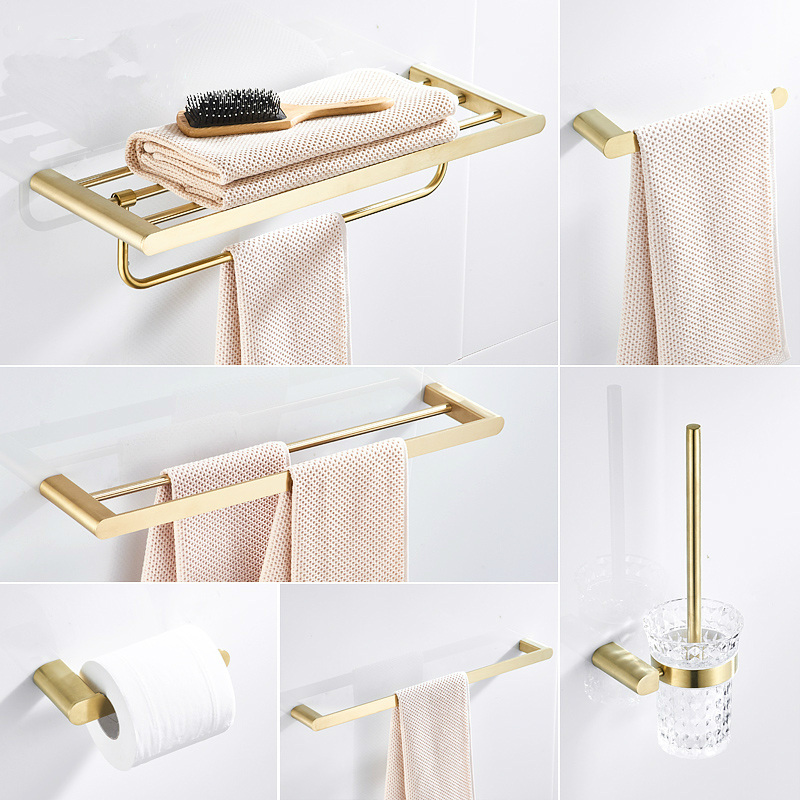 304 Stainless Steel Brushed Gold Bathroom Hardware Toothbrush Holder Metal Bath Set Accessories Robe Hook ,towel Paper Holder image