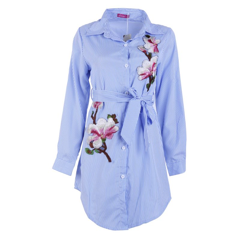 New Women Embroidery Long Blouse Blue And White Striped Lapel Long Sleeve Self Belted Embroidered Shirt