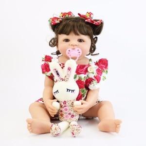Image 2 - 55cm Full Silicone Body Reborn Baby Doll Toy For Girl Vinyl Newborn Princess Babies Bebe Bathe Accompanying Toy Birthday Gift