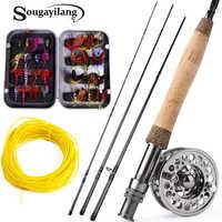 Sougayilang conjunto de vara de pesca com mosca 2.7 m haste e 2 cor voar carretel de pesca combinação e presente conjunto pesca equipamento