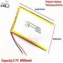 Bom íon de lítio do polímero da bateria 3.7v 8000mah 8565113 da energia do litro de qulity/bateria do li-íon para o banco do pc da tabuleta, gps, mp3,mp4