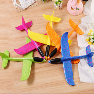 Image 3 - Hot Sale DIY 35cm LED Hand Throw Lighting up Flying Glider Plane Glow In The Dark Toys Foam Airplane Model Toys For Children