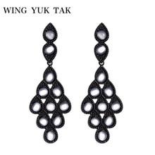 wing yuk tak Black Punk Opal Earrings For Women Vintage Fashion Simple Water Drop Earrings Party Jewelry Gift pair of stylish faux opal water drop earrings for women