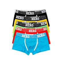 Hot! 5pcs\lot Pink Heroes High Quality Cotton Underwear Men Boxers Shorts Classic Solid/Stripe Male Underpants
