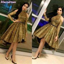 Ball-Gown Short Prom-Dresses Graduation-Gowns Sequined Shouder Fluffy Party New Front