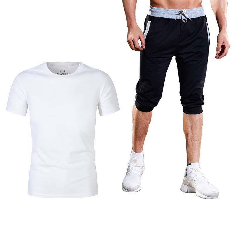 Summer 2019 High Quality T Shirt Men Sets Cotton Short Sleeve Sporting Suit T-shirt +shorts Mens 2 Pieces Sets Casual Clothing