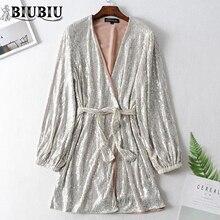 BIUBIU Evening Party Dress Women 2019 Long Lantern Sleeve Deep V Sequin Dresses Silver Womens Shiny Vestido Ladies Robe