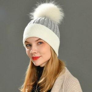 Image 1 - Frauen Winter Pelz Ball Kappe Kaschmir Hüte Beanie Cap Frau Weibliche Warme Kaninchen Fell Mischung Gestrickte Pelz Ponpon Hut Caps