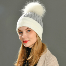 Women Winter Fur Ball Cap Cashmere Hats Beanie Cap Woman Female Warm Rabbit Fur Blend Knitted Fur Ponpon Hat Caps