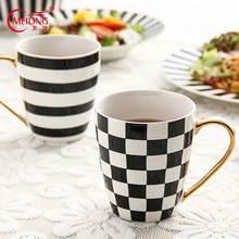 Black and White Stripe Plaid Mug Gold Handgrip Ceramic Coffee Mug Porcelain Tea Mugs New Home Housewarming Wedding Frends Gift frends 1kg