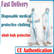 Disposable Protective Clothing Waterproof Zip Protective Clothes Isolation CE Fda Certification