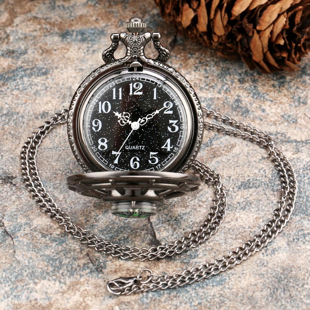 Чорний сріблястий кварцовий кишеньковий годинник для чоловіків Жіночий компас Порожня обкладинка Зоряне небо Наберіть Steampunk Годинник Кулон намисто