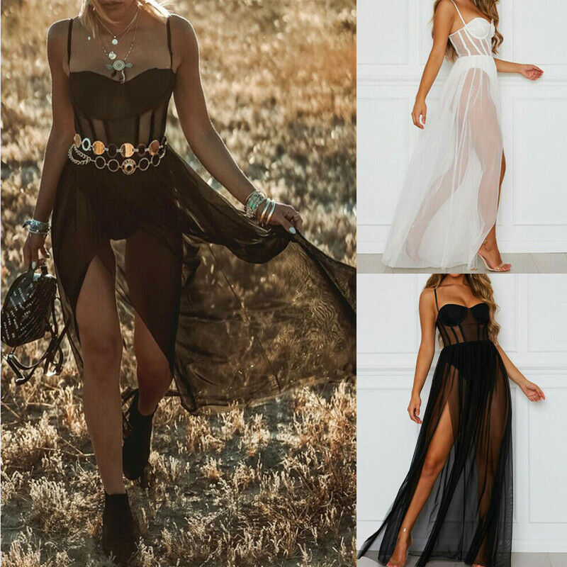 2020 NEW Women Mesh Sheer Sling Long Sleeve Party Club Maxi Dress Sundress Summer Beach Casual Bikini Cover Up